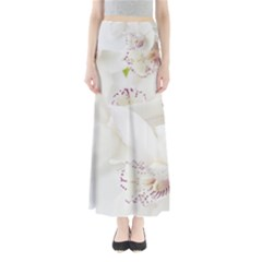 Orchids Flowers White Background Full Length Maxi Skirt