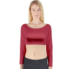 Usa Flag Red Blood Red Classic Solid Color  Long Sleeve Crop Top by PodArtist