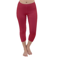 Usa Flag Red Blood Red Classic Solid Color  Capri Winter Leggings  by PodArtist
