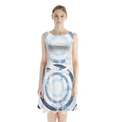 Center Centered Gears Visor Target Sleeveless Waist Tie Chiffon Dress