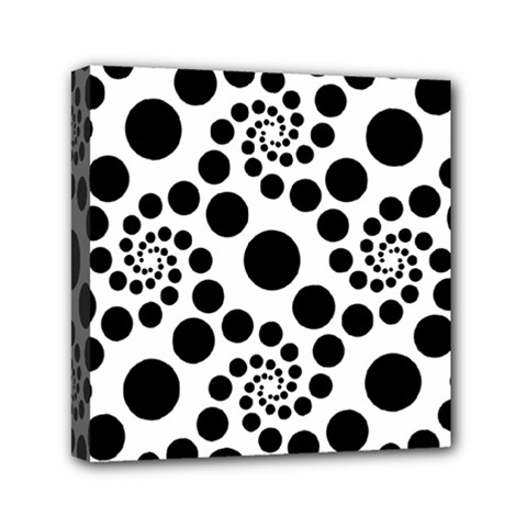 Dot Dots Round Black And White Mini Canvas 6  X 6