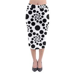 Dot Dots Round Black And White Midi Pencil Skirt