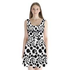 Dot Dots Round Black And White Split Back Mini Dress
