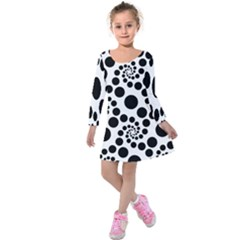 Dot Dots Round Black And White Kids  Long Sleeve Velvet Dress