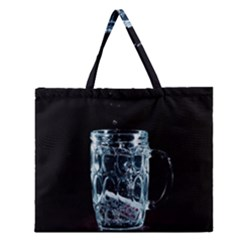 Glass Water Liquid Background Zipper Large Tote Bag