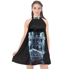 Glass Water Liquid Background Halter Neckline Chiffon Dress