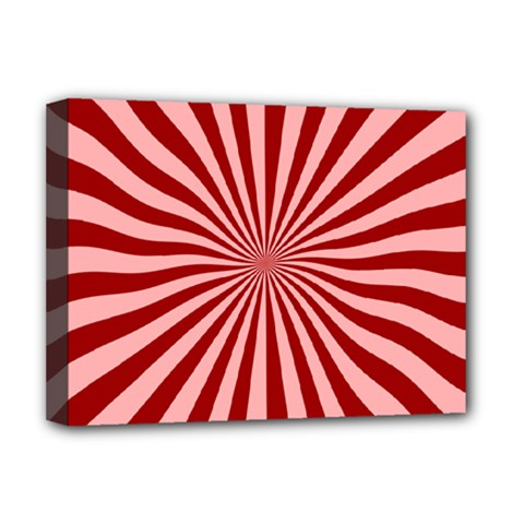Sun Background Optics Channel Red Deluxe Canvas 16  X 12   by BangZart