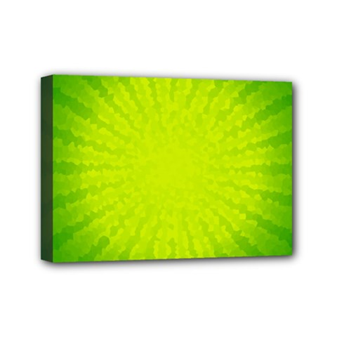 Radial Green Crystals Crystallize Mini Canvas 7  X 5