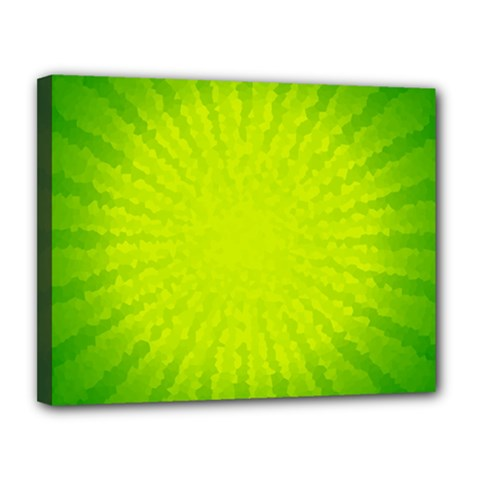 Radial Green Crystals Crystallize Canvas 14  X 11  by BangZart