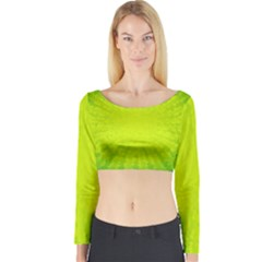 Radial Green Crystals Crystallize Long Sleeve Crop Top