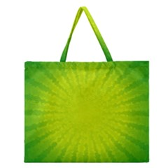Radial Green Crystals Crystallize Zipper Large Tote Bag by BangZart
