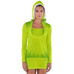 Radial Green Crystals Crystallize Women s Long Sleeve Hooded T Shirt
