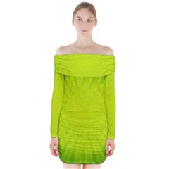 Radial Green Crystals Crystallize Long Sleeve Off Shoulder Dress