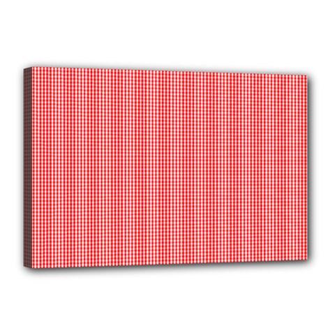 Christmas Red Velvet Mini Gingham Check Plaid Canvas 18  X 12  by PodArtist