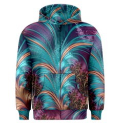 Feather Fractal Artistic Design Men s Zipper Hoodie