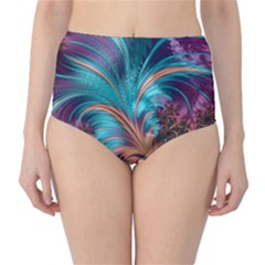 Feather Fractal Artistic Design High Waist Bikini Bottoms