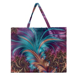Feather Fractal Artistic Design Zipper Large Tote Bag by BangZart