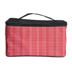 Christmas Red Velvet Mini Gingham Check Plaid Cosmetic Storage Case by PodArtist