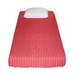 Christmas Red Velvet Mini Gingham Check Plaid Fitted Sheet (single Size) by PodArtist