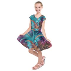 Feather Fractal Artistic Design Kids  Short Sleeve Dress