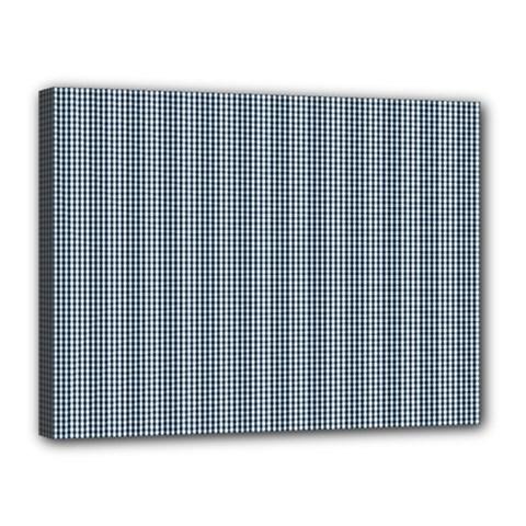 Silent Night Blue Mini Gingham Check Plaid Canvas 16  X 12  by PodArtist