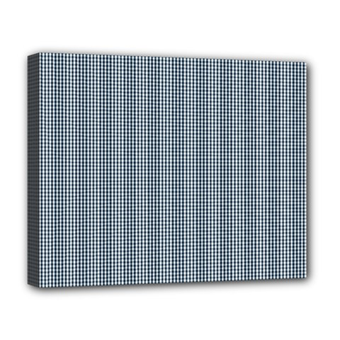 Silent Night Blue Mini Gingham Check Plaid Deluxe Canvas 20  X 16   by PodArtist