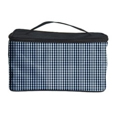 Silent Night Blue Mini Gingham Check Plaid Cosmetic Storage Case by PodArtist