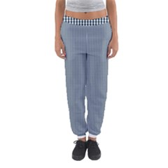 Silent Night Blue Mini Gingham Check Plaid Women s Jogger Sweatpants by PodArtist