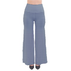 Silent Night Blue Mini Gingham Check Plaid Pants by PodArtist