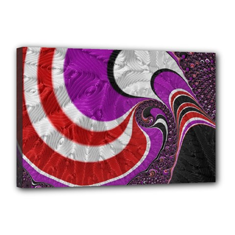 Fractal Art Red Design Pattern Canvas 18  X 12