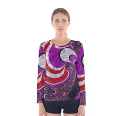Fractal Art Red Design Pattern Women s Long Sleeve Tee