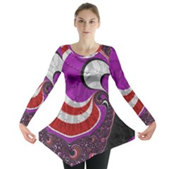 Fractal Art Red Design Pattern Long Sleeve Tunic