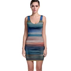 Background Horizontal Lines Sleeveless Bodycon Dress