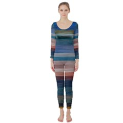 Background Horizontal Lines Long Sleeve Catsuit by BangZart