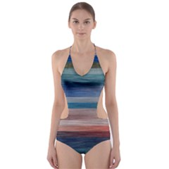 Background Horizontal Lines Cut Out One Piece Swimsuit
