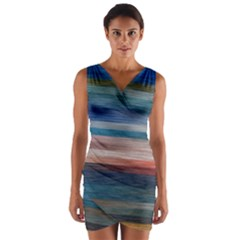 Background Horizontal Lines Wrap Front Bodycon Dress