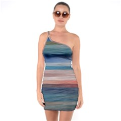 Background Horizontal Lines One Soulder Bodycon Dress