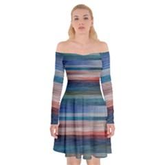 Background Horizontal Lines Off Shoulder Skater Dress