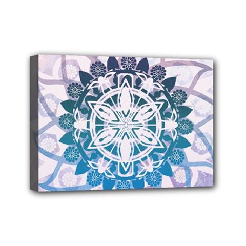Mandalas Symmetry Meditation Round Mini Canvas 7  X 5