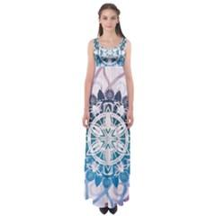 Mandalas Symmetry Meditation Round Empire Waist Maxi Dress