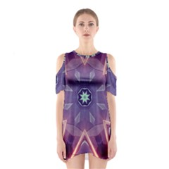 Abstract Glow Kaleidoscopic Light Shoulder Cutout One Piece