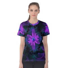 Beautiful Ultraviolet Lilac Orchid Fractal Flowers Women s Cotton Tee by jayaprime