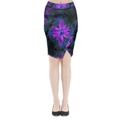 Beautiful Ultraviolet Lilac Orchid Fractal Flowers Midi Wrap Pencil Skirt by jayaprime