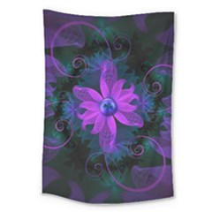 Beautiful Ultraviolet Lilac Orchid Fractal Flowers Large Tapestry by jayaprime