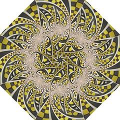 Liquid Taxi Cab, A Yellow Checkered Retro Fractal Folding Umbrellas by beautifulfractals