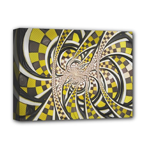 Liquid Taxi Cab, A Yellow Checkered Retro Fractal Deluxe Canvas 16  X 12   by jayaprime