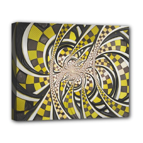 Liquid Taxi Cab, A Yellow Checkered Retro Fractal Deluxe Canvas 20  X 16   by jayaprime