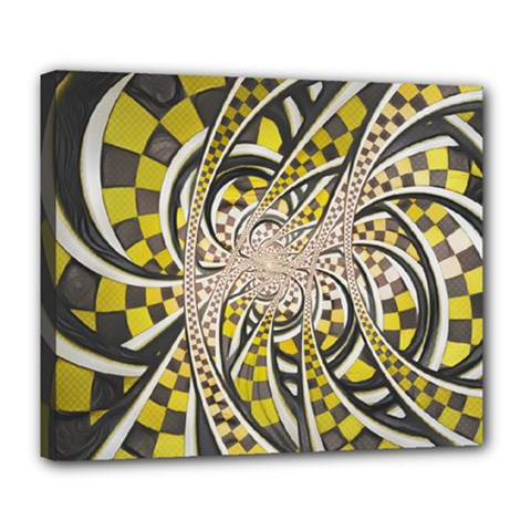 Liquid Taxi Cab, A Yellow Checkered Retro Fractal Deluxe Canvas 24  X 20   by jayaprime