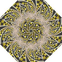 Liquid Taxi Cab, a Yellow Checkered Retro Fractal Hook Handle Umbrellas (Medium)