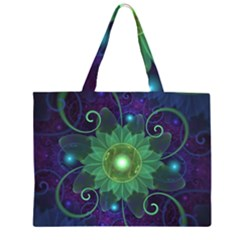 Glowing Blue Green Fractal Lotus Lily Pad Pond Zipper Large Tote Bag by beautifulfractals